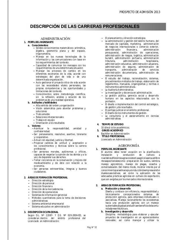 PROSPECTO DE ADMISIÓN 2013 Pág. N° 34 3. DESCRIPCIÓN OCUPACIONAL a. Docencia Interviene en procesos de formación artística...