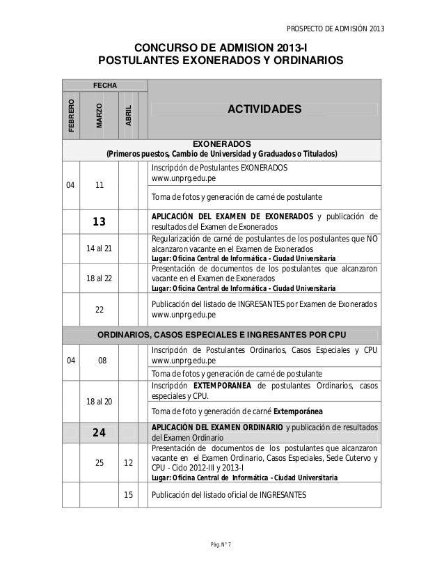 PROSPECTO DE ADMISIÓN 2013 Pág. N° 9 TASAS DE INSCRIPCIÓN CONCURSO DE ADMISIÓN 2013 Tasas de pago por derecho de prospecto...