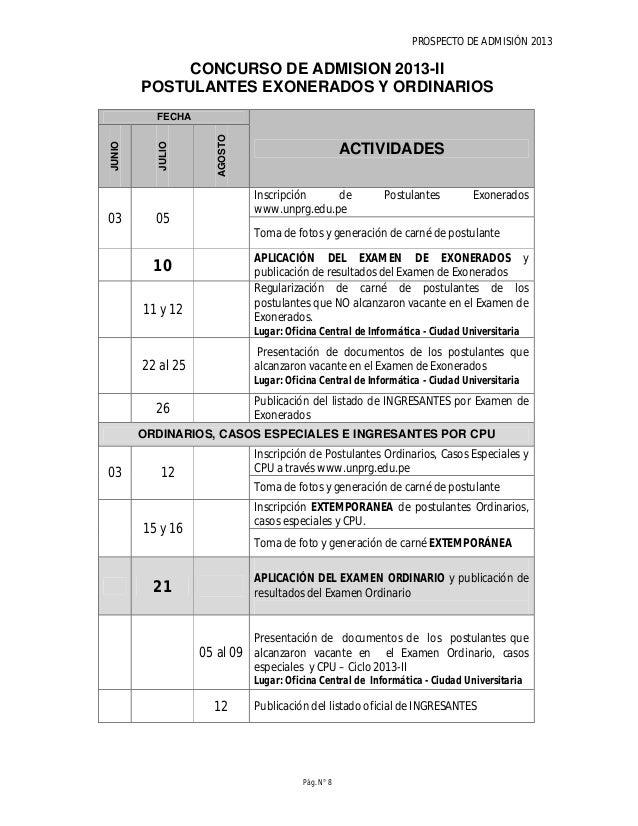 PROSPECTO DE ADMISIÓN 2013 Pág. N° 10 VACANTES CONCURSO DE ADMISIÓN 2013 -I Vacantes por modalidad de postulación y Escuel...