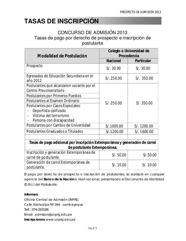PROSPECTO DE ADMISIÓN 2013 Pág. N° 11 CONCURSO DE ADMISIÓN 2013 -II Vacantes por modalidad de postulación y Escuela Profes...