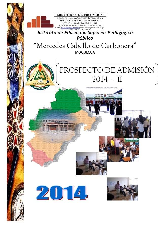 """Instituto de Educación Superior Pedagógico Público """"Mercedes Cabello de Carbonera"""" MOQUEGUA MINISTERIO DE EDUCACION Instit..."""