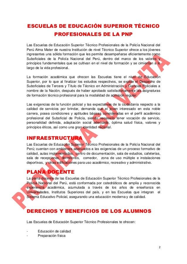 PROSPECTO DE ADMISIÓN 2015 - II - ETS PNP Slide 2