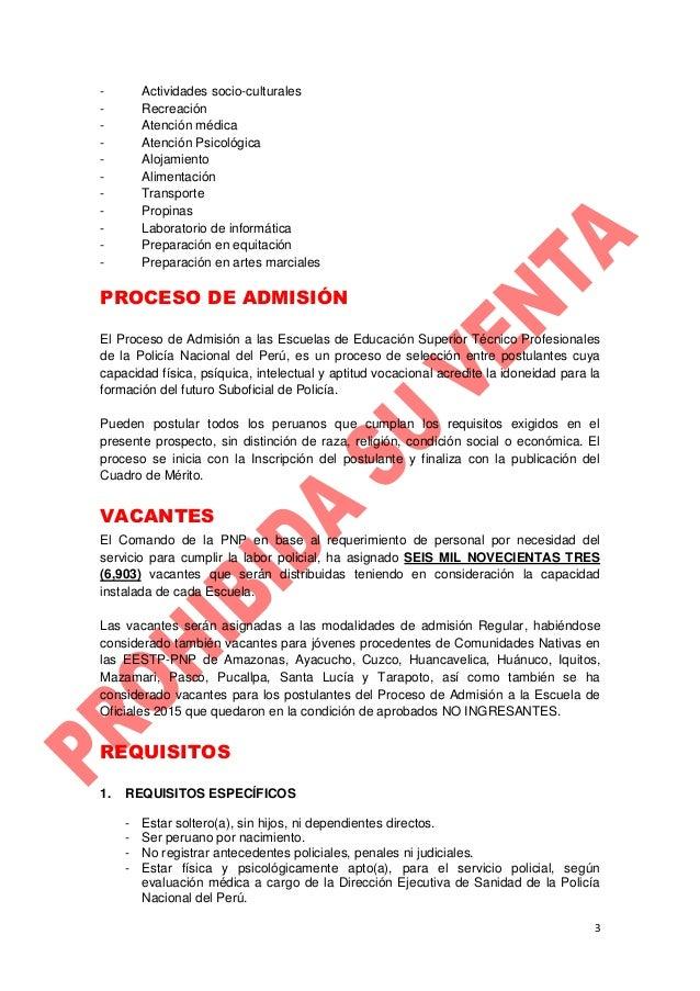 PROSPECTO DE ADMISIÓN 2015 - II - ETS PNP Slide 3