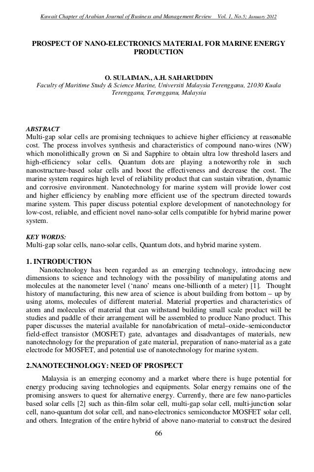 Kuwait Chapter of Arabian Journal of Business and Management Review Vol. 1, No.5; January 2012  PROSPECT OF NANO-ELECTRONI...