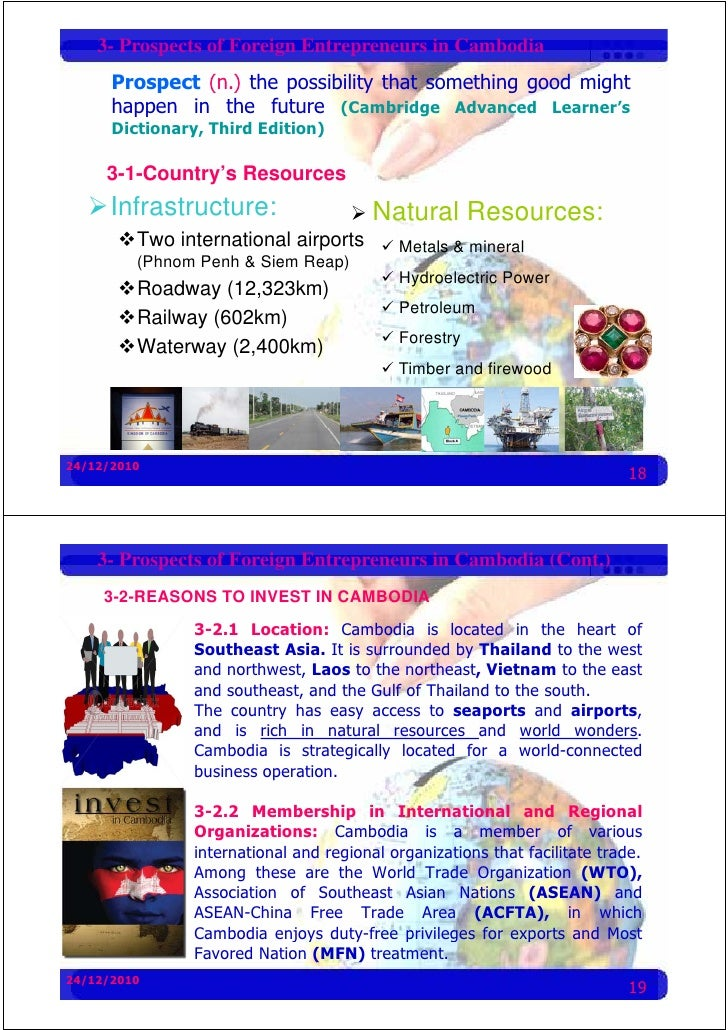 3- Prospects of Foreign Entrepreneurs in Cambodia       Prospect (n.) the possibility that something good might       happ...