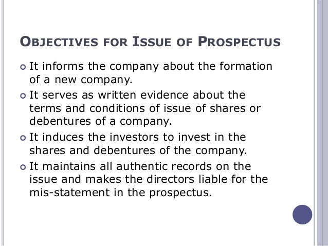 issue of prospectus of a company