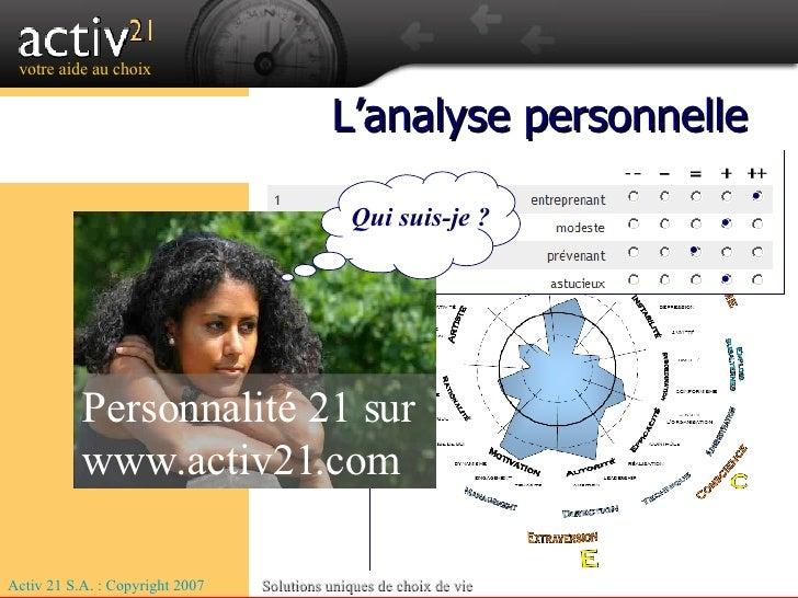 Activ 21 S.A. : Copyright 2007 Solutions uniques de choix de vie trouvez votre voie L'analyse personnelle Personnalité 21 ...