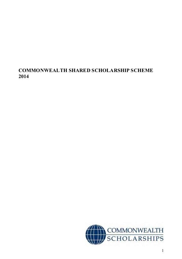 1 COMMONWEALTH SHARED SCHOLARSHIP SCHEME 2014