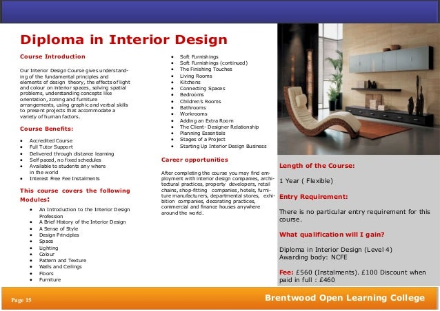 Interior design courses distance learning