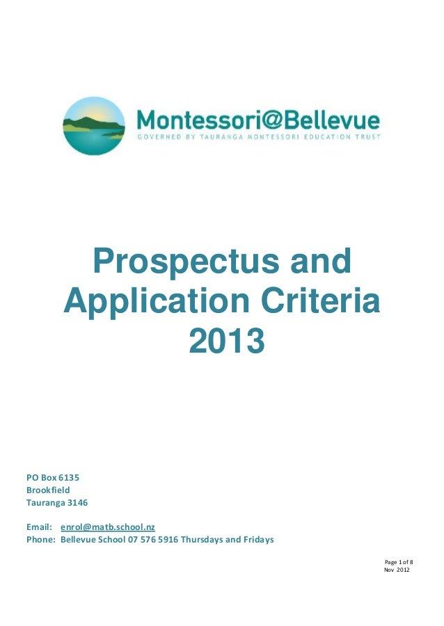Prospectus and        Application Criteria               2013PO Box 6135BrookfieldTauranga 3146Email: enrol@matb.school.nz...
