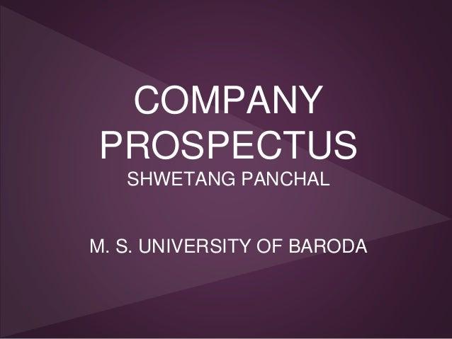 COMPANY PROSPECTUS SHWETANG PANCHAL M. S. UNIVERSITY OF BARODA