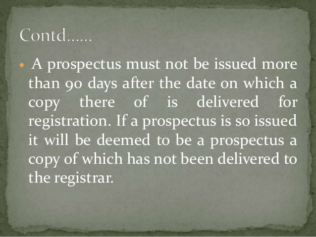 Dating of prospectus
