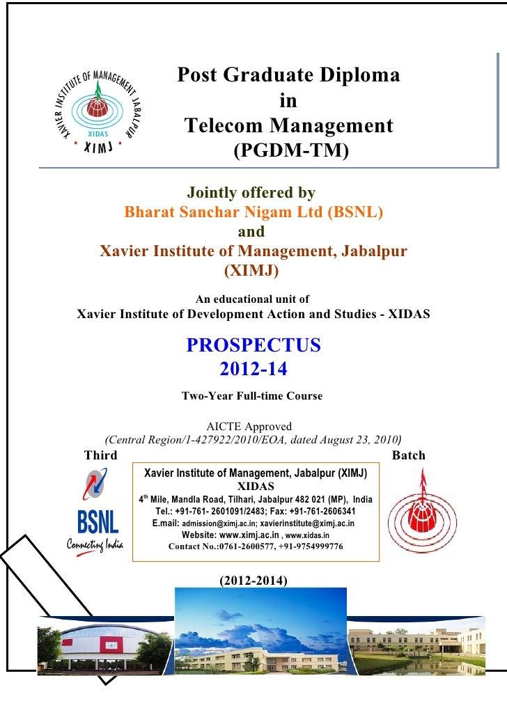 Post Graduate Diploma                            in                    Telecom Management                                 ...