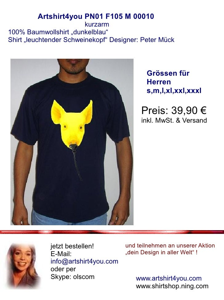 """Artshirt4you PN01 F105 M 00010                          kurzarm 100% Baumwollshirt """"dunkelblau"""" Shirt """"leuchtender Schwein..."""