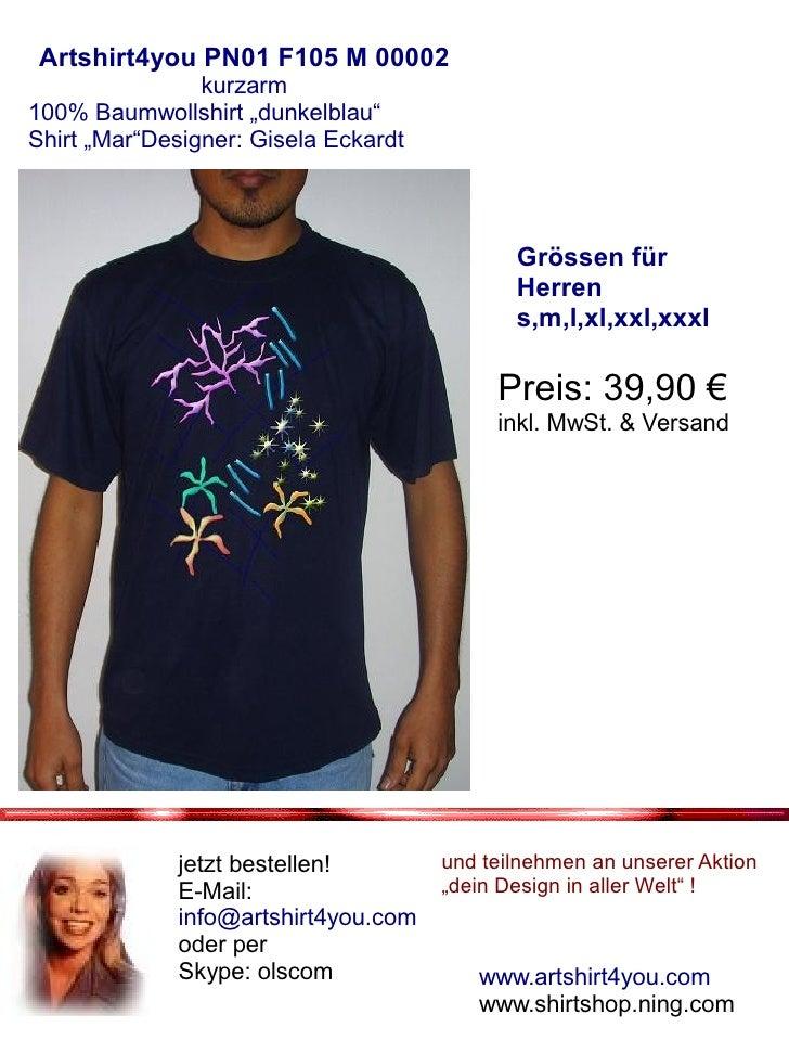 """Artshirt4you PN01 F105 M 00002                 kurzarm 100% Baumwollshirt """"dunkelblau"""" Shirt """"Mar""""Designer: Gisela Eckardt..."""