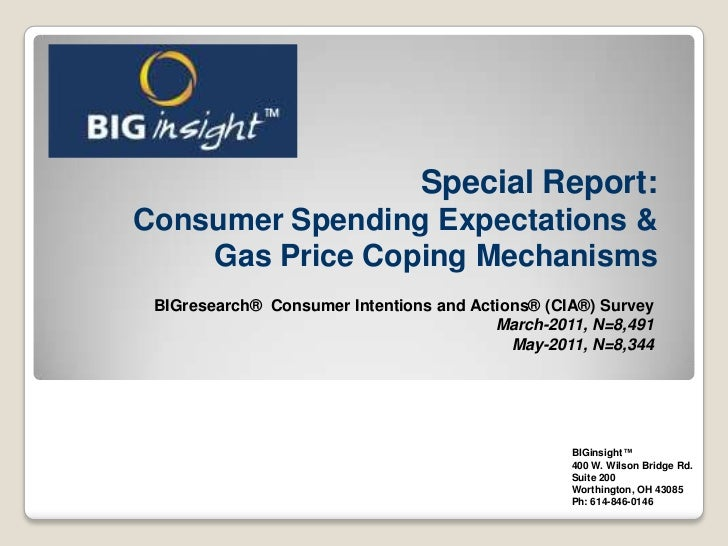 Special Report:Consumer Spending Expectations & Gas Price Coping Mechanisms<br />BIGresearch®  Consumer Intentions and Act...