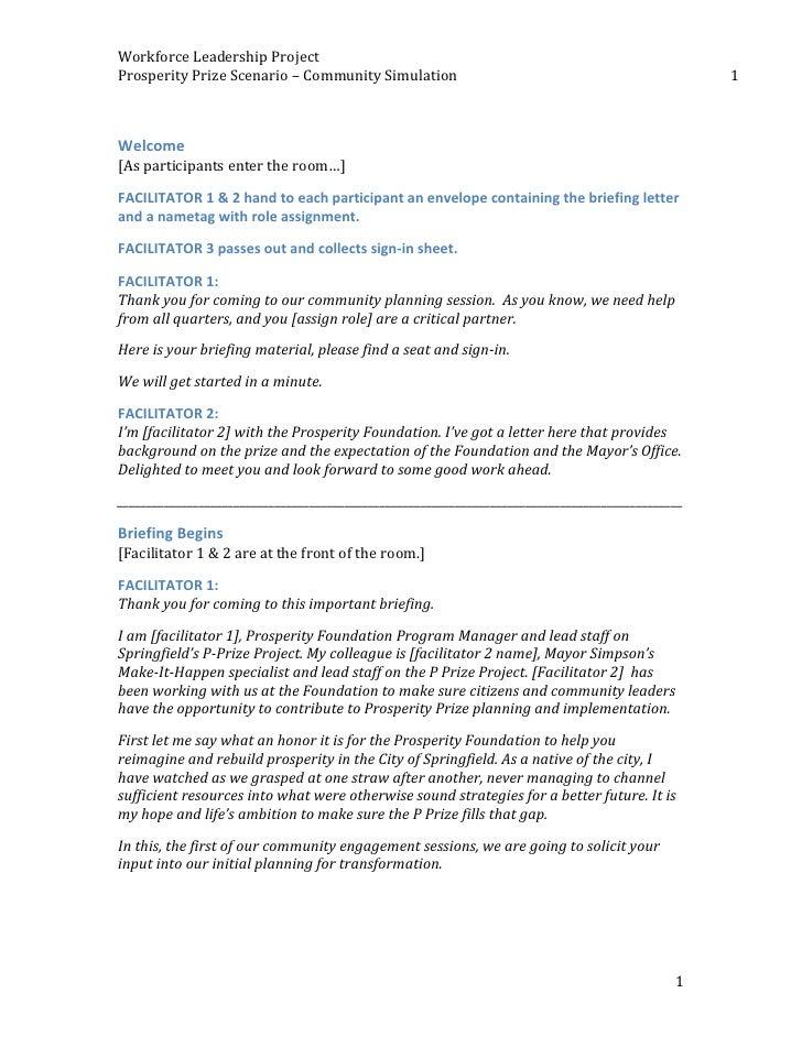 Workforce Leadership Project  Prosperity Prize Scenario – Community Simulation                        ...
