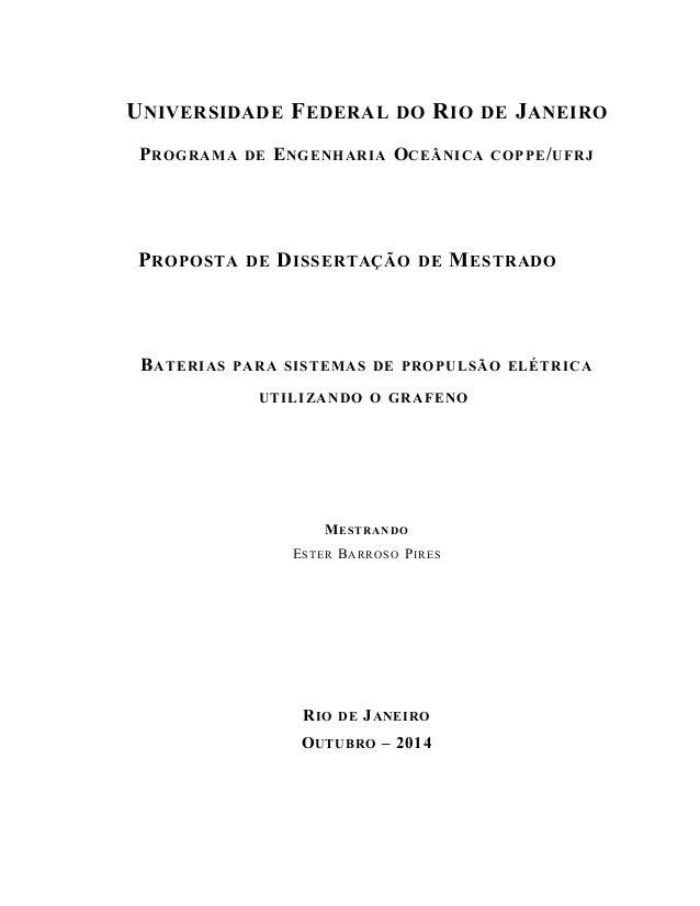 UNIVERSIDADE FEDERAL DO RIO DE JANEIRO  PROGRAMA DE ENGENHARIA OCEÂNICA COPPE/UFRJ  PROPOSTA DE DISSERTAÇÃO DE MESTRADO  B...