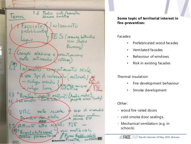 Results Seminar 20 May 2019, Bolzano Some topic of territorial interest in fire-prevention: Facades: • Prefabricated wood ...