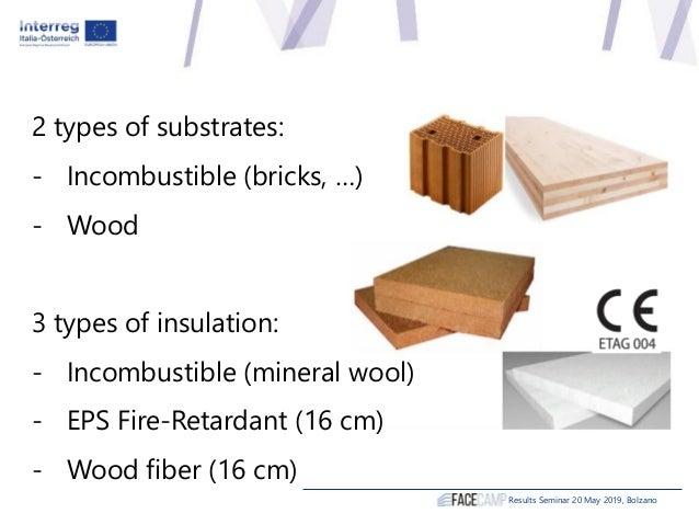Results Seminar 20 May 2019, Bolzano Incombustible substrate XLAM substrate Mineral wool (baseline) EPS FR Wood Fiber Mine...
