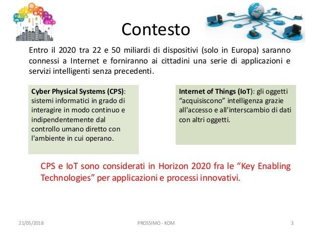 PROSSIMO - Progettazione, sviluppo e ottimizzazione di sistemi intelligenti multi-oggetto Slide 3