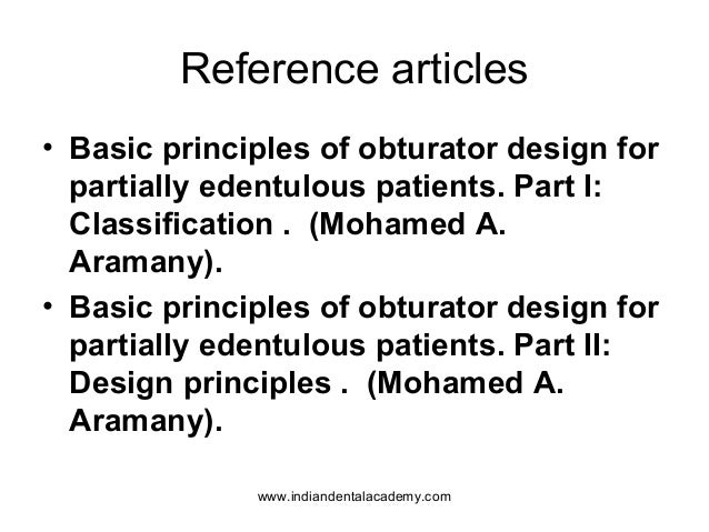 Prosthodontic principles of obturator design/ orthodontic