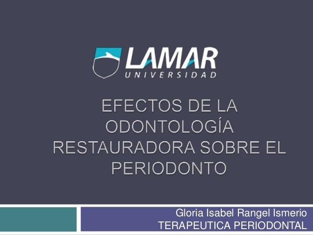 Gloria Isabel Rangel Ismerio TERAPEUTICA PERIODONTAL