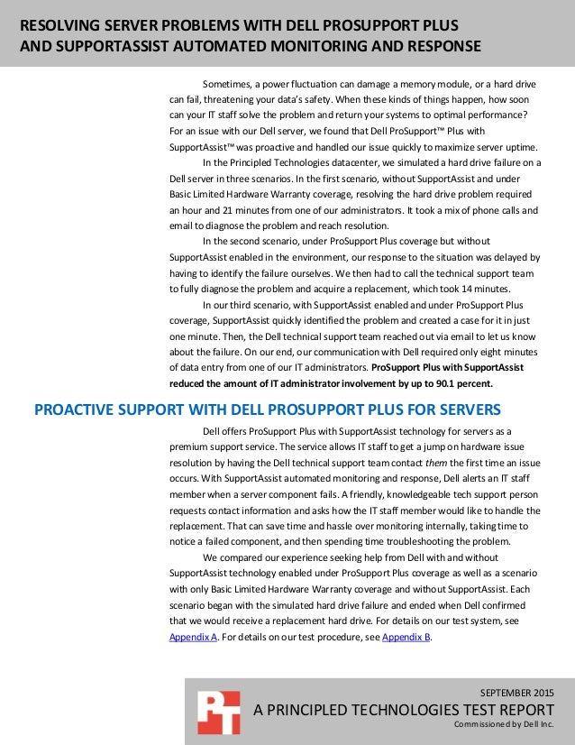 SEPTEMBER 2015 A PRINCIPLED TECHNOLOGIES TEST REPORT Commissioned by Dell Inc. RESOLVING SERVER PROBLEMS WITH DELL PROSUPP...