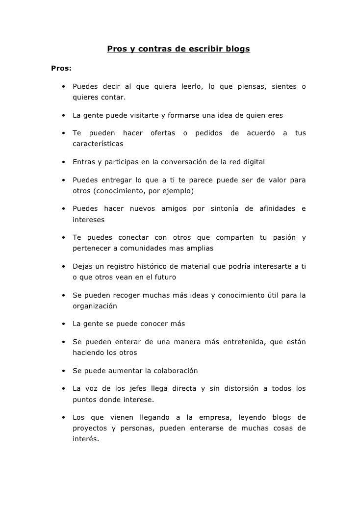 Pros y contras del blogs for Hormigon impreso pros y contras