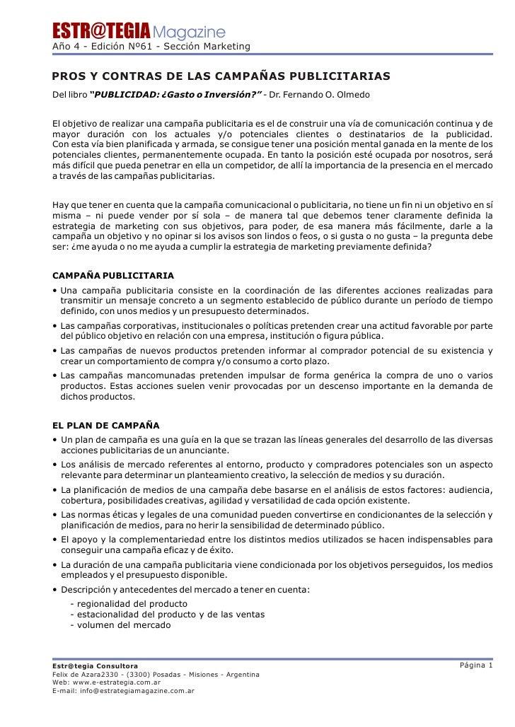 Pros y contras de las campanas publicitarias for Hormigon impreso pros y contras