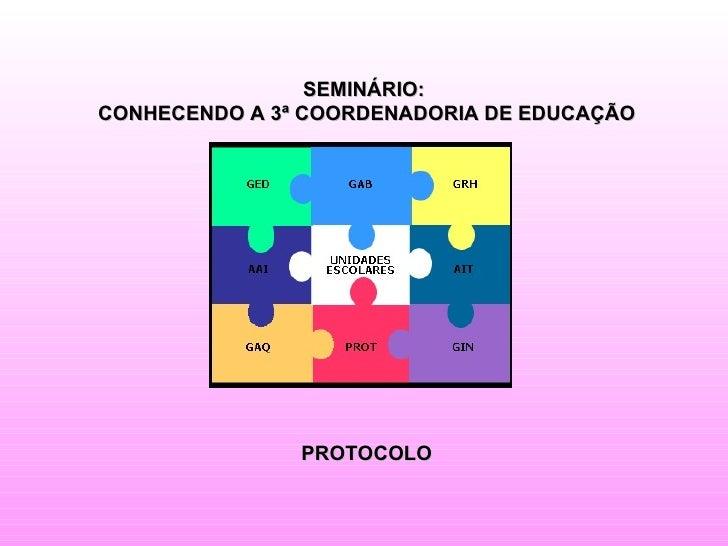 SEMINÁRIO:CONHECENDO A 3ª COORDENADORIA DE EDUCAÇÃO               PROTOCOLO