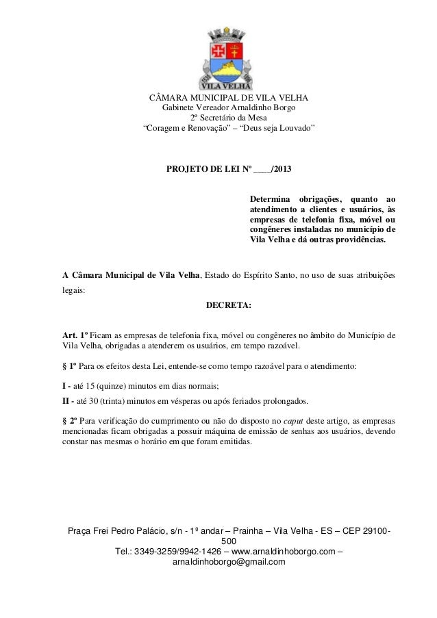 """CÂMARA MUNICIPAL DE VILA VELHA Gabinete Vereador Arnaldinho Borgo 2º Secretário da Mesa """"Coragem e Renovação"""" – """"Deus seja..."""