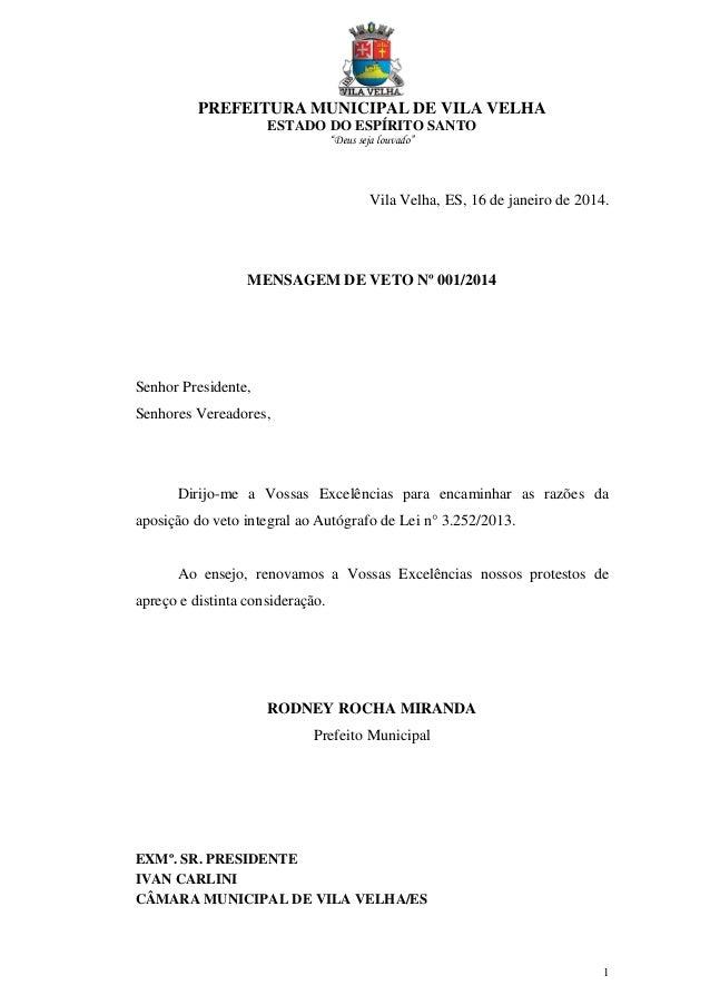 """PREFEITURA MUNICIPAL DE VILA VELHA ESTADO DO ESPÍRITO SANTO """"Deus seja louvado"""" 1 Vila Velha, ES, 16 de janeiro de 2014. M..."""