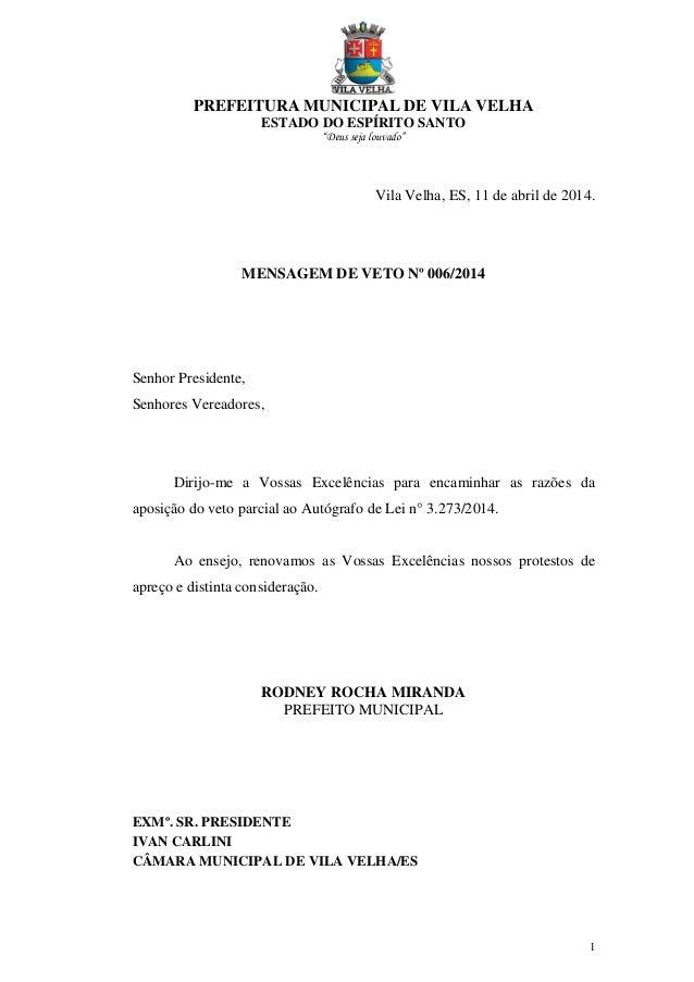 """PREFEITURA MUNICIPAL DE VILA VELHA ESTADO DO ESPÍRITO SANTO """"Deus seja louvado"""" 1 Vila Velha, ES, 11 de abril de 2014. MEN..."""
