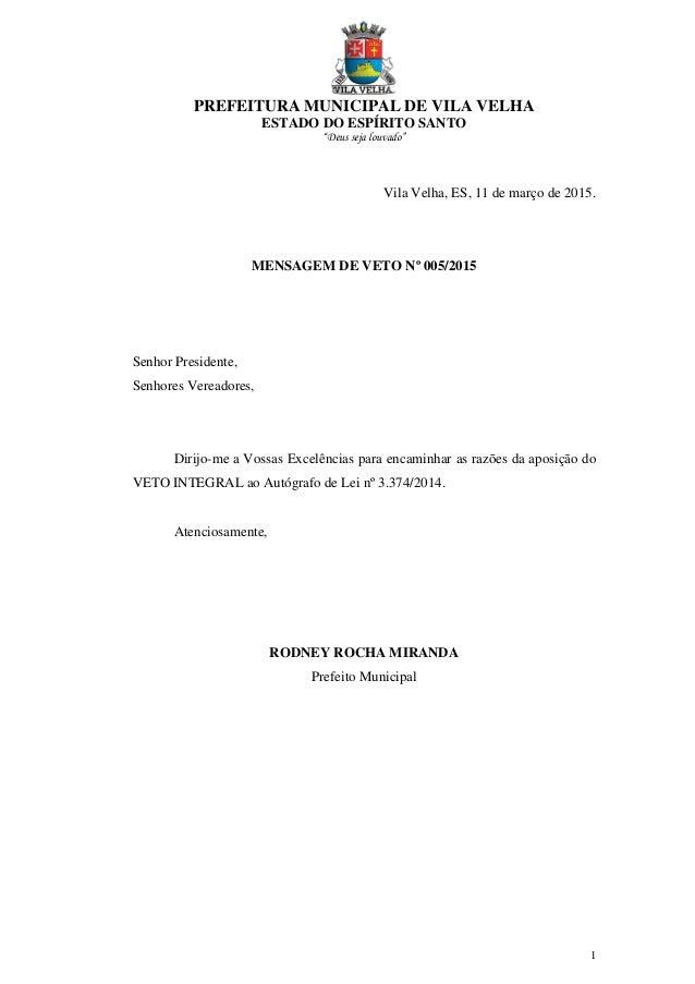 """PREFEITURA MUNICIPAL DE VILA VELHA ESTADO DO ESPÍRITO SANTO """"Deus seja louvado"""" 1 Vila Velha, ES, 11 de março de 2015. MEN..."""