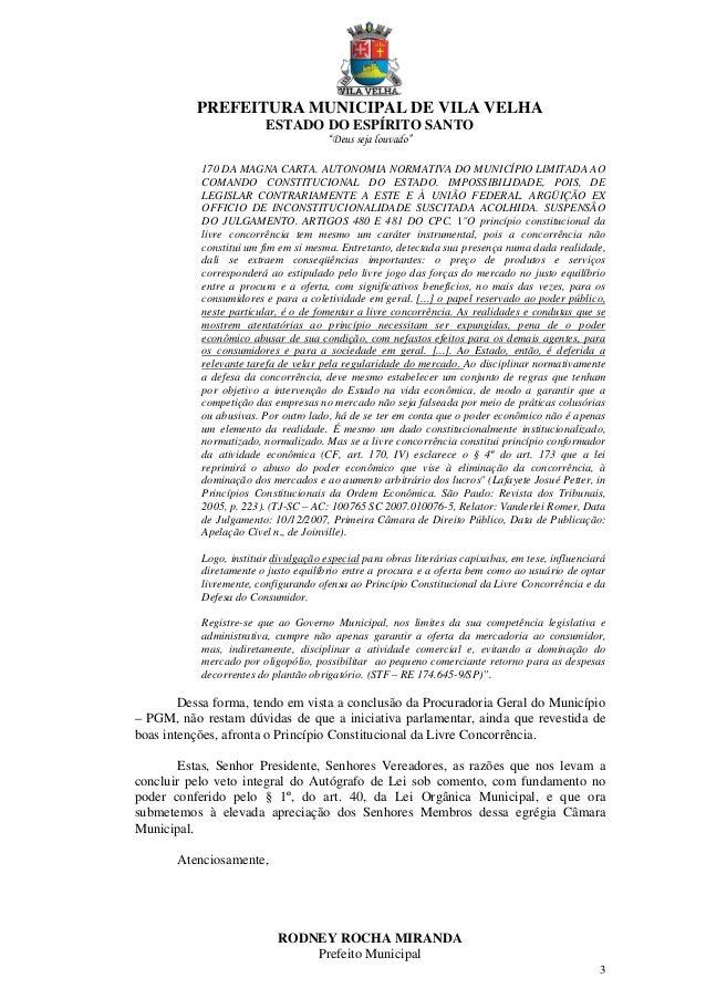 """PREFEITURA MUNICIPAL DE VILA VELHA ESTADO DO ESPÍRITO SANTO """"Deus seja louvado"""" 3 170 DA MAGNA CARTA. AUTONOMIA NORMATIVA ..."""