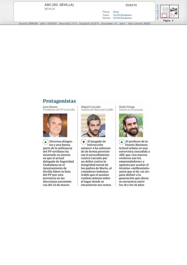 03/02/15ABC (ED. SEVILLA) SEVILLA Prensa: Diaria Tirada: 32.465 Ejemplares Difusión: 23.564 Ejemplares Página: 4 Sección: ...