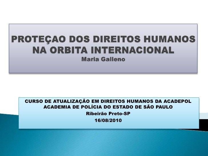 Protecao dos direitos humanos na orbita internacional