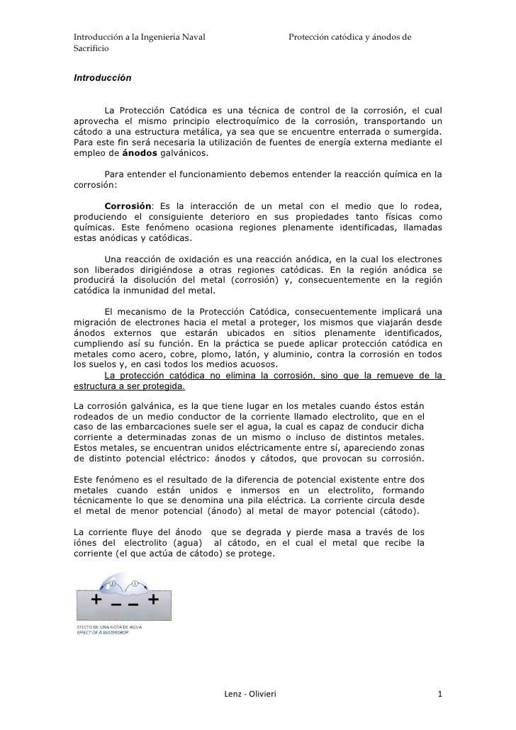 Introducción a la Ingeniería Naval                     Protección catódica y ánodos de Sacrificio   Introducción          ...