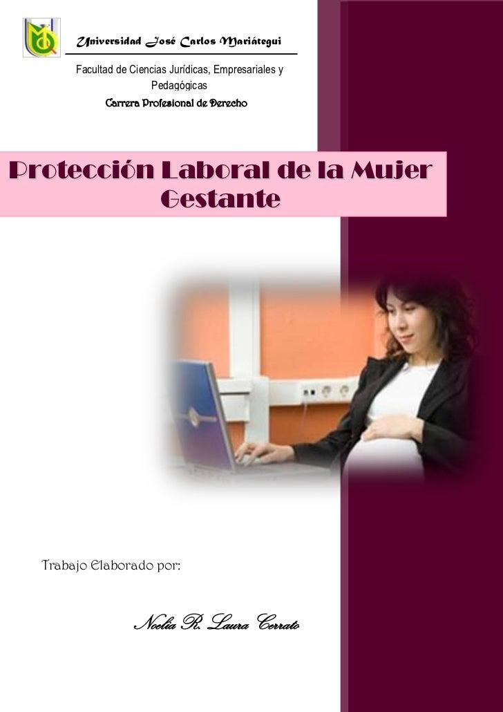 Trabajo Elaborado por:Noelia R. Laura CerratoProtección Laboral de la Mujer Gestante10289722864683Universidad José Carlos ...