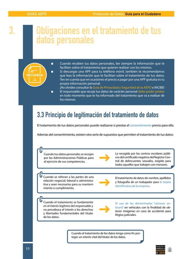 GUÍAS AEPD 11 Protección de Datos: Guía para el Ciudadano 3. Obligaciones en el tratamiento de tus   datos personales ...