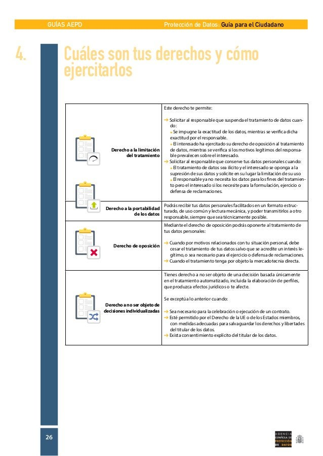 GUÍAS AEPD 26 Protección de Datos: Guía para el Ciudadano Derecho a la limitación del tratamiento Este derecho te permite:...