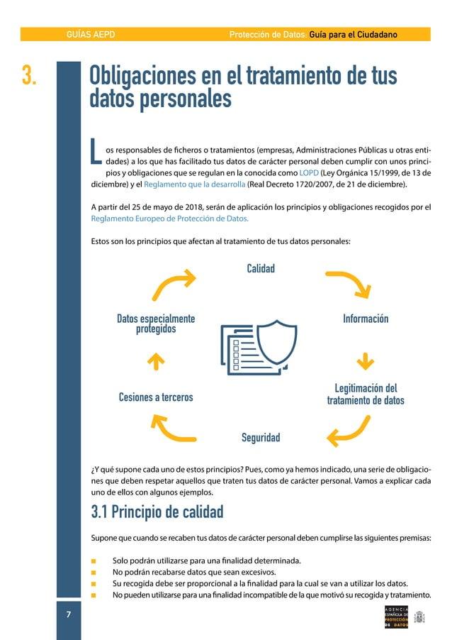 GUÍAS AEPD 7 Protección de Datos: Guía para el Ciudadano 3. Obligaciones en el tratamiento de tus   datos personales L...