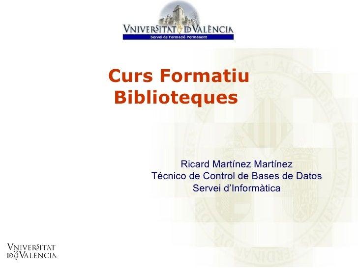 Curs Formatiu Biblioteques   Ricard Martínez Martínez Técnico de Control de Bases de Datos Servei d'Informàtica