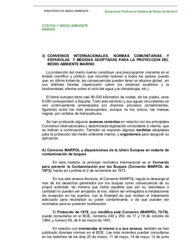 MINISTERIO DE MEDIO AMBIENTE Actuaciones Públicas en Materia de Medio Ambiente © 3) CONVENIOS INTERNACIONALES, NORMAS COMU...