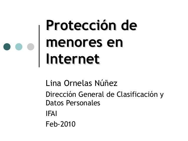 Protección demenores enInternetLina Ornelas NúñezDirección General de Clasificación yDatos PersonalesIFAIFeb-2010