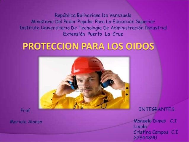 República Bolivariana De Venezuela          Ministerio Del Poder Popular Para La Educación Superior    Instituto Universit...