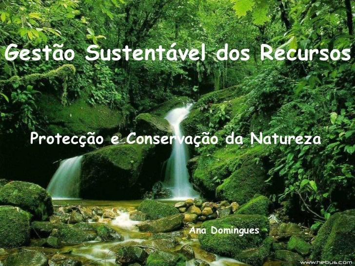 Gestão Sustentável dos Recursos Protecção e Conservação da Natureza Ana Domingues
