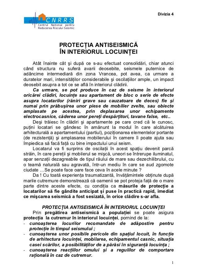 Divizia 4       Centrul National pentru       Reducerea Riscului Seismic                      PROTECŢIA ANTISEISMICĂ      ...