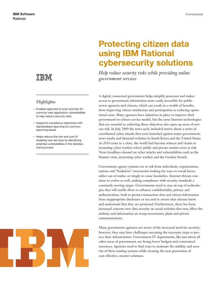 Protecting Citizen Data Using IBM Rational Cybersecurity Solutions
